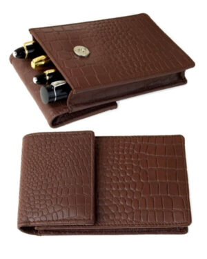 Genuine Leather croc pattern pen pouch – 4 super Jumbo Pens