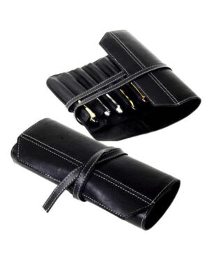 genuine Leather black pen rollup  – For 16 fountain pens