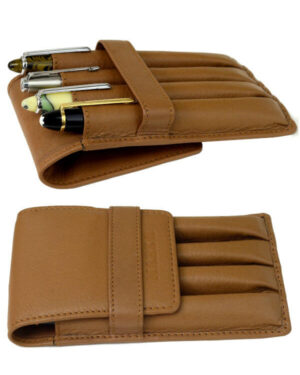 Genuine leather natural tan pen pouch – 4 standard jumbo pens