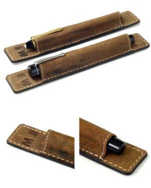 Genuine leather pen sleeve Natural vintage tan – 1 super jumbo pen